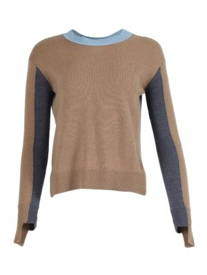 Camel And Blue Knit Cashmere Sweater