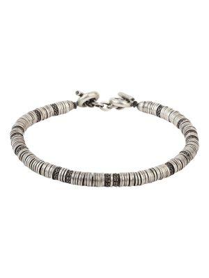 Silver And Black Diamond Washer Bracelet