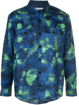 Blue And Green Tie-dye Woven Button Down