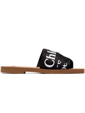 Woody Canvas Slides, Black