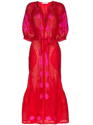 Red And Fuchsia Shalimar Belted Dress