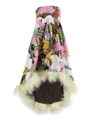 Multicolored Floral Feather Midi Dress