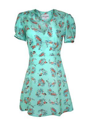 Mini Paula Surfer Print Silk Dress
