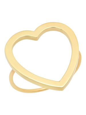 18k Yellow Gold Large Open Heart Ring