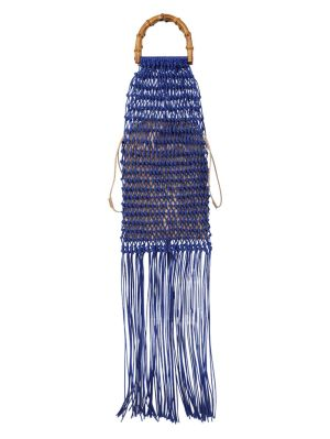 Knotted Bamboo Fringe Handbag Bright Blue