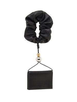 Black Leather Scrunchie Wallet