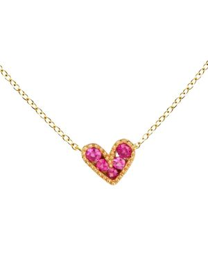 Pink Baroque Heart Charm Necklace