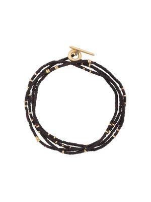Black And Gold-tone Wrap Around Bracelet
