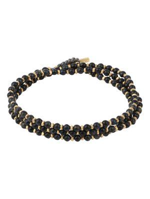 18k Matte Gold And Blue Tiger Eye Gem Agora Bracelet