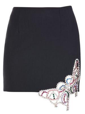 Black Embellished Mini Skirt