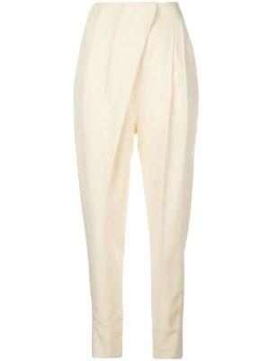 Light Yellow Pleated High-waist Trousers