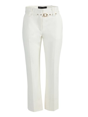 White Belted Tuxedo Pants