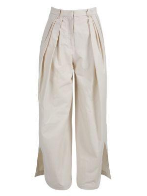 Neutral Pleated Asymmetrical Pants