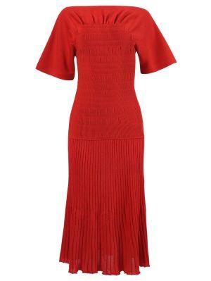 Smocked Knit Dress, Red