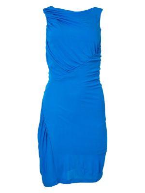Blue Gathered Sleeveless Dress