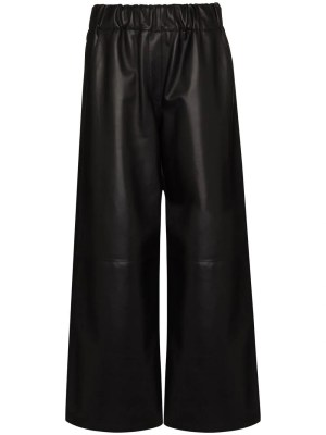 Black Cropped Leather Pants