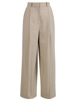 Beige Pleated Wide-leg Trousers