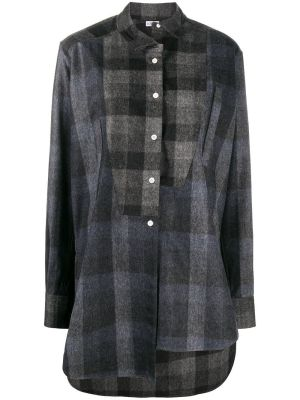 Black And Grey Asymmetric Patchwork Shirt
