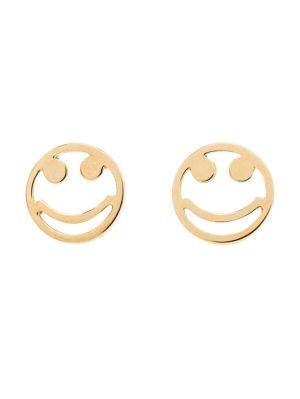 18k Yellow Gold Smiley Stud Earrings