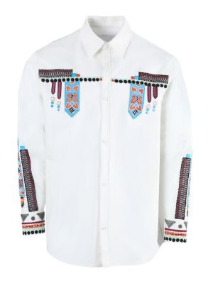 White Multicolored Embroidered Button-down Shirt