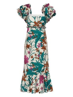Mulatto Print Cotton Midi Dress