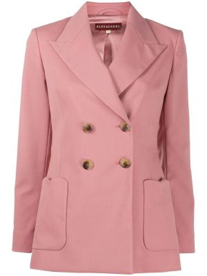 Wool Blend Double-breasted Blazer Soft Pink