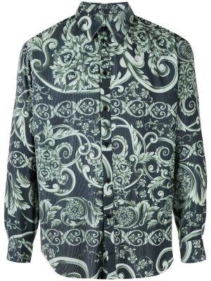 Pleated Baroque Print Shirt