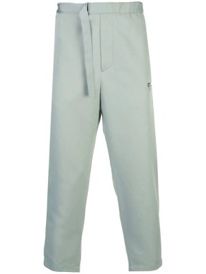 Green Tapered Belted Pants