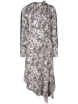 Zebra Print Long Sleeve Scarf Dress