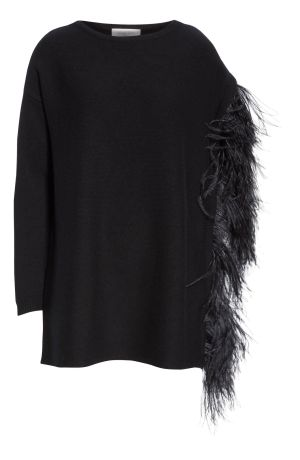 Feather Sleeve Cashmere Sweater