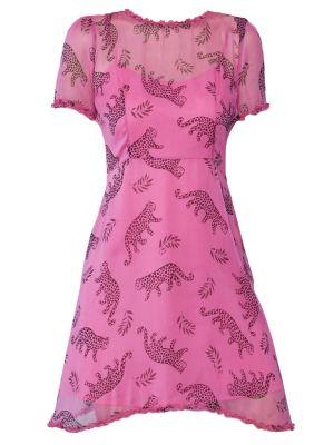 Natalie Ruffled Mini Dress, Pink Tarzan Leopard