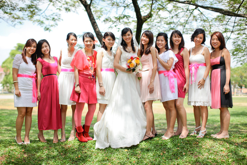colourful themed bridesmaids. Anna Rina Photography