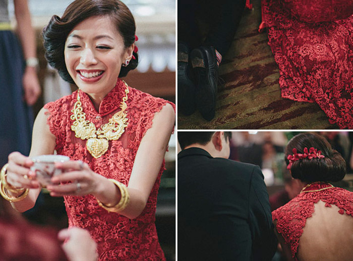 www.theweddingnotebook.com.Photography by History Studio. Bridal red cheongsam