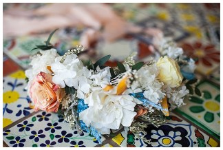 Blue and Yellow Authentic Mexican Styled Shoot   Hand crafted backdrop and styling by The Wedding Spark   Photography by Frances Carlisle