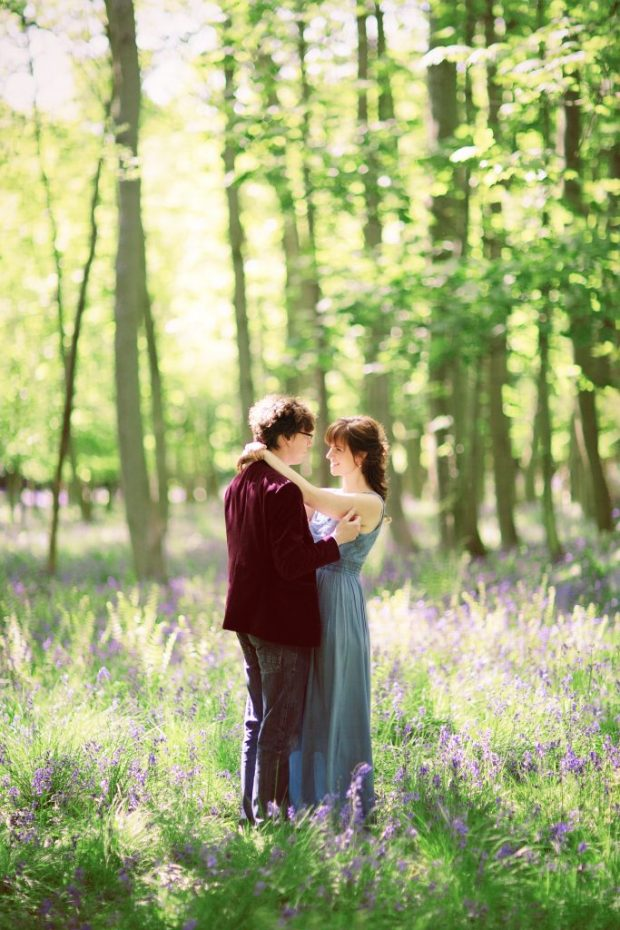 Ashridge Bluebell Forest Engagement Photoshoot