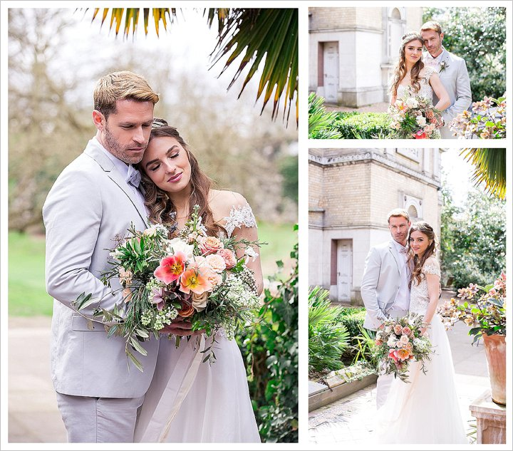 A bride and groom embrace in a tropical garden. The bride wears the Diana gown by Limor Rosen and carries a hand-tied bouquet of pink, peach and coral blooms