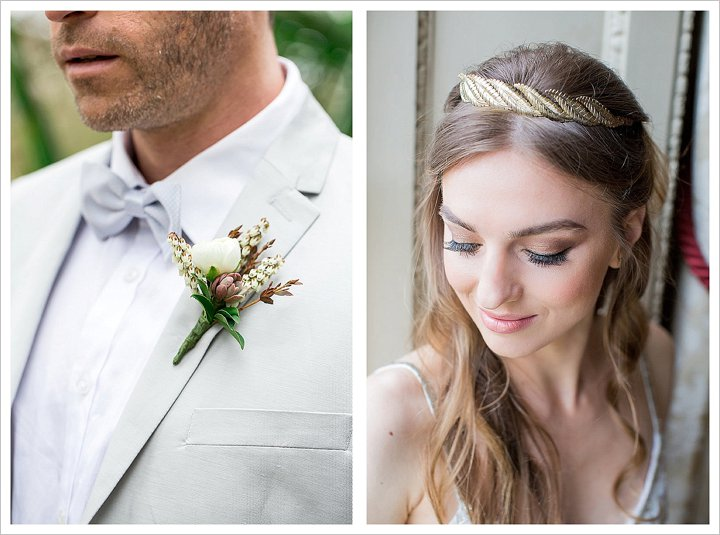 Close up of a groom and bride. He wears a pale grey H&M suit and bowtie, she wears a gold headpiece by Tilly Thomas Lux.