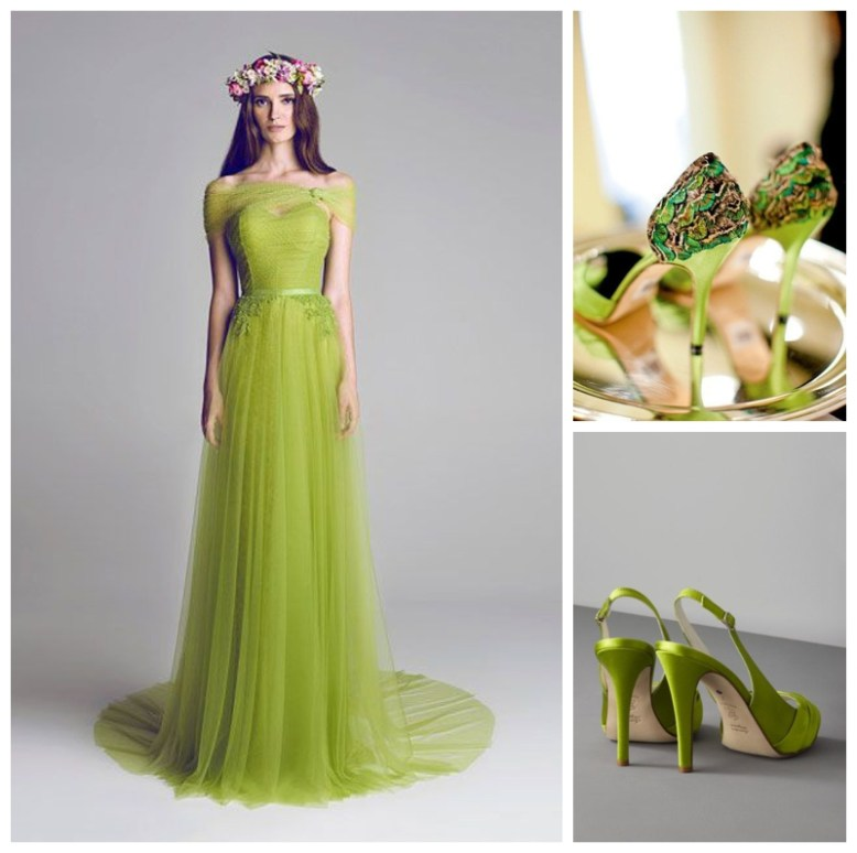 Incorporating Pantone Greenery into your wedding. A green gown or green shoes make a statement.