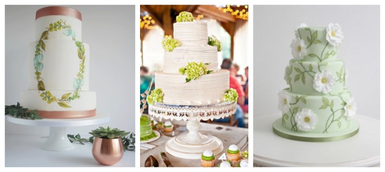 Pantone's colour of the year 2017 used in wedding cakes, in watercolour, floral and fondant.