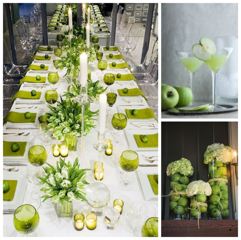 Green apples used as wedding decor - as fresh zingy cocktails, in hurricane vases and along a green themed tablescape