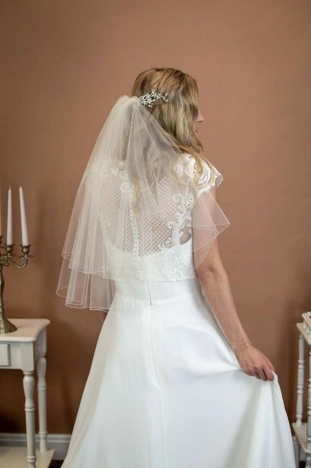 Abigail – elbow length veil with scattered crystals & pearls