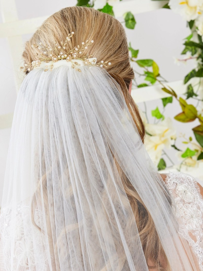ar559 bridal hair comb with veil