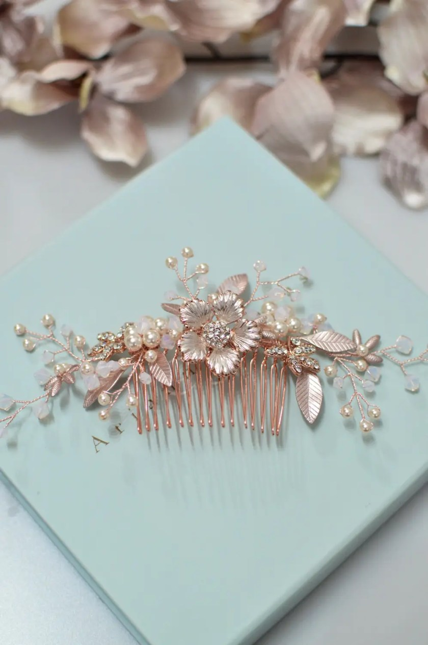 AR573 – rose gold, pearl & white opal bridal comb 1
