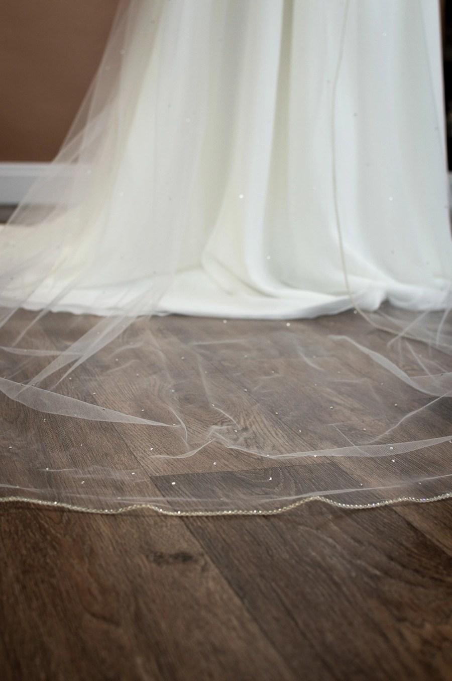 Alexandra - one layer chapel veil with rhinestone edge and diamantes falling stars bottom of train