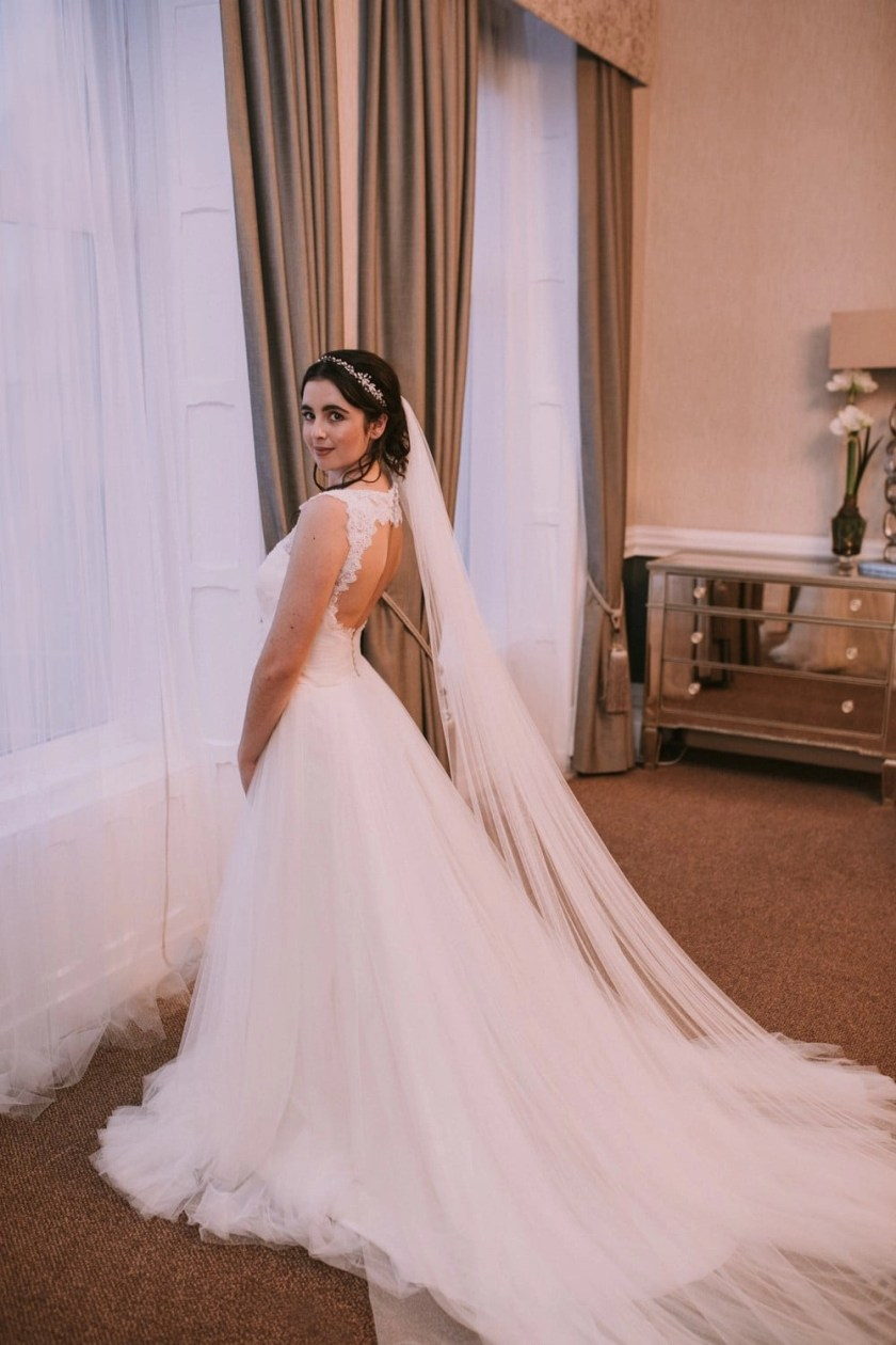 single tier cathedral length veil