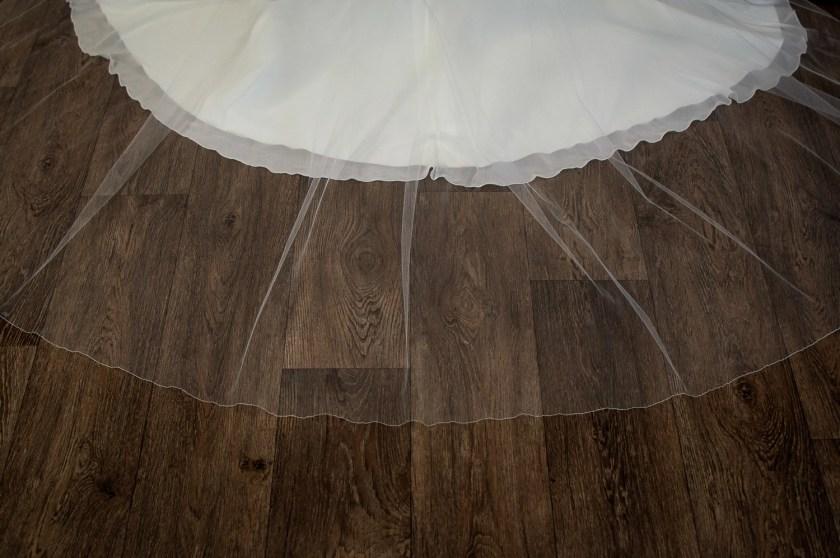 Brooke - single layer chapel length extra wide plain veil detail