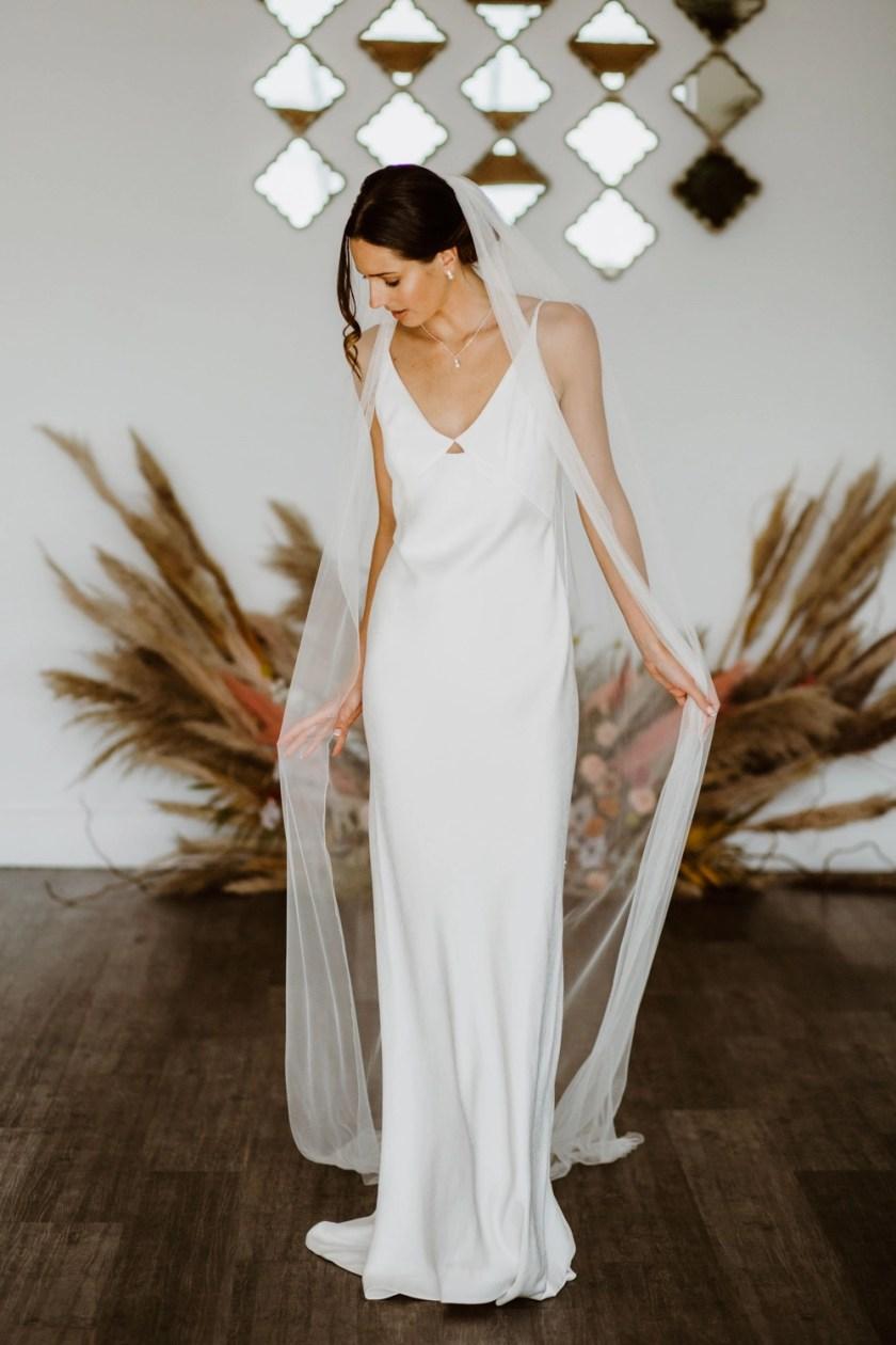 Brooklyn – one layer chapel length slim width pencil edge veil in Silk Effect tulle