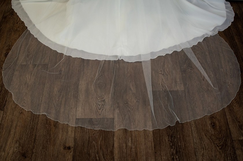 Brooklyn - slim and narrow single layer chapel length veil in silk effect tulle detail