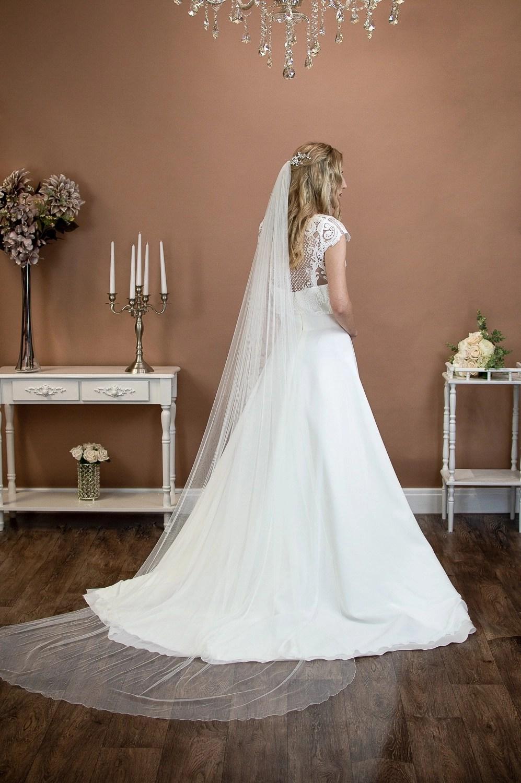 Brooklyn - slim and narrow width veil long single layer chapel length veil in silk effect tulle on a bride