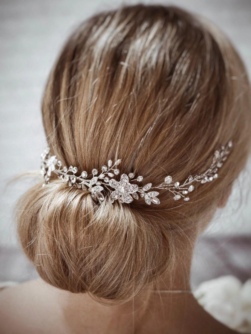 Dawn TLH3067 silver diamante and pearl bridal hair vine 30cm long on blonde bride hair up